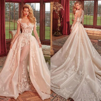 Wholesale luxury wedding dresses long train for sale - Group buy 2020 Luxury Long Sleeves Lace Appliqued Mermaid Wedding Dresses With Detachable Train Vintage Satin Saudi Arabic Dubai Bridal Gowns