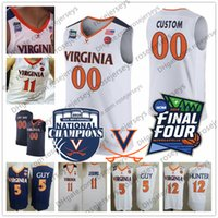 Wholesale basketball jersey numbers resale online - Custom Virginia Cavaliers Final Four Basketball Any Name Number White Navy Blue Hunter Guy Ty Jerome Kihei Clark UVA Jerseys