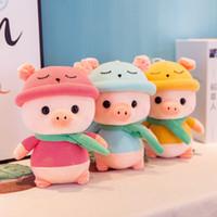 anime schals großhandel-25cm reizender großer Schal Schwein Plüschtiere Kuscheltiere weiche Puppe nette Karikatur-weiche Kissen-Kissen bestes Geschenk für Spielzeug Kinder Kinder