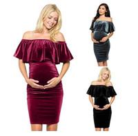 Wholesale vintage maternity clothes resale online - Maternity Dresses Fall OL temperament famous women s clothing dense velvet shoulder pregnant women s A skirt dress