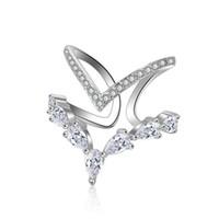 ingrosso v anelli di barretta-Anelli di barretta dell'argento sterlina dell'argento della doppia della lettera dell'anello di forma quadrata di V di doppio strato delle donne anello di barretta il migliore regalo