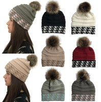 18e39d2a9f5864 Fur Pom Ball Knitted Acrylic Beanies Winter Warmer jacquard knit Hats  Adults Slouchy Mens Womens sport Snow Cap christmas hat