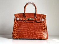 saco alaranjado do crocodilo venda por atacado-2018 Original Couro Top Orange Moda Bolsa De Ombro De Couro Crocodilo Grão Clamshell Bolsa Clássico Saco Da Noite Da Moda