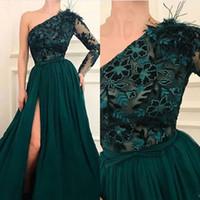 Wholesale arab strap picture for sale - Group buy Dark Green A Line One Shoulder Tulle Prom Dresses Dubai Arab Evening Dress Long Prom Dresses Formal Dress Robe De Soiree with Slit