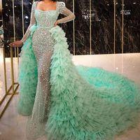 vestido de fiesta verde menta con lentejuelas al por mayor-Verde menta con lentejuelas sobrefaldas Vestidos de noche con perlas desmontables tren vestido de manga larga de fin de curso de Nivel falda de tul Celebrity Vestidos Pageant