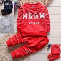 roupa de criança venda por atacado-3 cores Da Criança Do Bebê Meninos Roupas T Shirt + Calças Crianças Roupas Sportswear Crianças roupas outono crianças roupas de grife conjuntos 1-4Y ouvidos