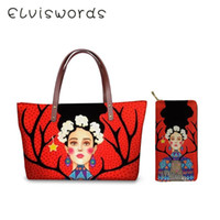 Wholesale set two oil paintings for sale - Group buy ELVISWORDS Women s Luxury Leather Handbag Set Lady Totes Bags Purse Retro Oil Painting Girls Female Hand Bolso Bags Sac Mujer