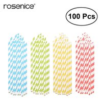 pajitas de papel amarillo al por mayor-00pcs Pajitas para beber de papel, surtido de colores del arco iris, pajita para la fiesta de cumpleaños de boda (rojo; amarillo azul verde) 100p ...
