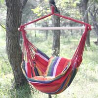 Wholesale child hammock resale online - Color Bar Hammock Dormitory Hanging Chair Garden Swing Seat Outdoor Indoor Creative Children Play Hot Sale xlf1