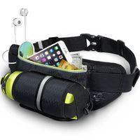 Wholesale soccer bottle resale online - Black Waist Pack Bags with Water Bottle Holder Waterproof Running Belt for Men Women Reflective Bottle Gym Bag Pack for Hiking