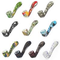 ingrosso strumenti per tubi da fumo-bagliore nel buio Tubi di silicone tubo di vetro per tubi da fumo a forma di 7 parole Colore Ultimate Tool Tubi di tabacco Ciotola nascosta con erba di erbe