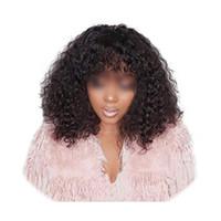 franja de cabelo castanho venda por atacado-180% Densidade 360 full lace perucas de cabelo humano com bang natural marrom profundo encaracolado cabelo brasileiro peruca dianteira do laço com franja 14 polegada