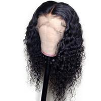peluca de pelo rizado para cola de caballo al por mayor-Deep Curly 360 Lace Frontal Wig Pre Plucked With Baby Hair puede hacer cola de caballo 130% densidad 8-22 pulgadas pelucas de cabello humano para mujeres negras
