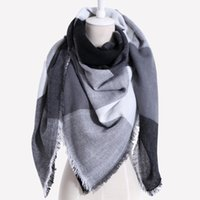Wholesale lace triangle scarfs online - Drop shipping Winter Scarf Women Plaid Cashmere Triangle Women Scarf Warm wrap Shawls and Scarves