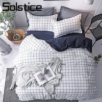 Wholesale blue girl bedding for sale - Group buy Solstice Home Textile Simple Nordic Bedding Linen Set For Teen Boy Girls White Blue Plaid Duvet Cover Pillow Case Flat Bed Sheet