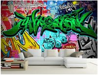 Wholesale classic home paintings resale online - WDBH custom photo d wallpaper Bar colorful graffiti KTV room background painting home decor d wall murals wallpaper for walls d