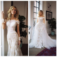 Wholesale lace slim cap sleeve wedding dress resale online - Long Sleeves Mermaid Lace Appliques Slim Wedding Dresses With Detachable Train Tulle Long Bridal Gowns Customized Robe De Novia