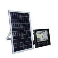 capteur de lumière batterie extérieure achat en gros de-Lumières d'inondation solaires Batterie Lifepo4 avec télécommande + capteur de lumière du jour + minuterie 120W 100W 60W 40W 20W Outdoor Garden Light Street Light