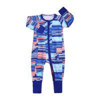 Wholesale newborn boy trousers resale online - Newborn Boy Rompers Boy Girl Jumpsuit Zipper Shirt Long Sleeve Round Neck Tight cuff Trousers Jumpsuits