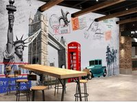 Wholesale classic car wallpaper online - Custom Size D Photo Wallpaper Living Room Mural Telephone Booth Car d Backdrop Picture Mural Home Decor Creative Hotel Study Wallpaper D