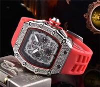 montre analogique de luxe achat en gros de-Vente Hot Mens Watch luxe Montres-bracelets en silicone noir Bracelet Fashion Designer Montres Sport mécanique Horloge analogique Relogio Masculino