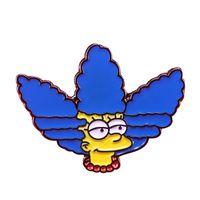 Wholesale enamel pin badges for sale - Group buy Marge Simpson brooch cute cartoon lapel pin Simpsons family badge hat bag shirt jacket enamel Pin