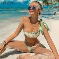 um ombro bikini swimsuit venda por atacado-2019 Sexy Bikini Swimwear Poliéster Mulheres Swimsuit Push Up brasileiro Mulheres Maiô Biquini um ombro Biquinis Bikini Set Beachwear