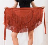 ballsaal dancewear lateinisch großhandel-Frauen Ballsaal-lateinische Salsa Tango Quaste Tanz-Rock-Rochen-Verpackungs-Schal Dancewear Black Coffee