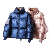 ingrosso donna blu parka coat-2019 Winter Glossy Down Parka giacche da donna grandi taglie Winter Warm Blue Parka spesso allentato Cappotto Donna Capispalla