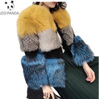 пуховая шуба оптовых-New Fashion Woman Spring Autumn Warm Thicken Round collar Covered button Pockets Coat Female Real  Fur Fur coat CY527