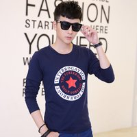 Wholesale clothes young men online - 2017 Autumn long sleeves t shirt men s self cultivation shirt shirt young people printed round neck cotton clothing ta1