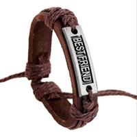 Wholesale leather braclets resale online - Men Jewelry Letter Best Friend Leather Bracelet Men Handmade Jewelry Retro Women Bradided Braclets Male Bracelets Femme Gift