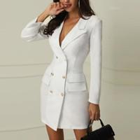roupa de inverno escritório feminino venda por atacado-Inverno preto branco blazer dress mulheres manga comprida dress casual v pescoço escritório bodycon dress coreano terno roupas vestidos 2019
