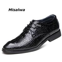модные ботинки лифта оптовых-Misalwa Drop Shipping Crocodile Mens Shoes Stitched Lace up Winter Plush Men Wedding Shoes Black Solid Fashion Elevator