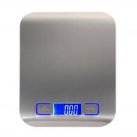 baterias para báscula al por mayor-Báscula digital multifunción de alimentos Plataforma de acero inoxidable de 11 lb 5 kg con pantalla LCD plateada (batería no incluida)
