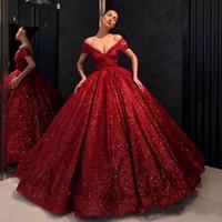 klassische ballkleid prom kleider großhandel-Klassische rote Abendkleider 2019 von der Schulter V-Ausschnitt Ballkleid Robes De Soiree Pailletten Quinceanera Abendkleid