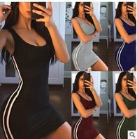 Wholesale spandex womens plus clothing for sale - Women Party Mini Dress Sexy Sleeveless O Neck Sundress Summer Striped Patchwork Short Beach Dress Plus Size Womens Clothing