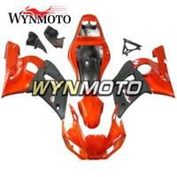 ingrosso arancio yamaha r6-Pezzi di plastica Sportbike Piatti di iniezione neri piatti per Yamaha YZF-600 R6 Anno 1998 99 00 01 2002 Kit cofano di plastica completo per bici
