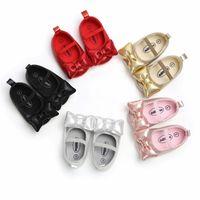 sevimli kız ayakkabıları yaylar toptan satış-Bebek Moccasins Sevimli Kalp Yay Bebek Prewalker PU Deri Çocuk Ayakkabı Erkek Kız için Yumuşak kaymaz Taban 04