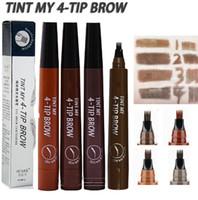 Eyebrow Tattoo Pencil 4 Head Fine Sketch Enhancer Fork Tip Eyebrow Tattoo Tint Pen Eyebrow Gel Waterproof Microblading Makeup