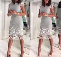 Wholesale hand made flower gown resale online - 2020 Silver Gray Mother Of The Bride Dresses Jewel Neck Short Sleeves White Lace Flowers Sheath Knee Length Party Evening Wedding Guest Gown