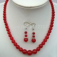 brincos de colar de coral vermelho venda por atacado-Women Gift word Love women Moda Jóias Conjunto de Jóias Charmoso! Noble Elegant 6-14mm Jóias Red Gem Colar / Brincos