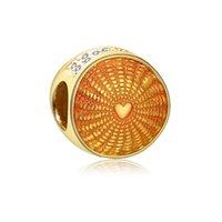 pandora amarilla encantos al por mayor-Nuevos auténticos 925 Sterling Silver Charm rayos de sol, Hadas amarillo esmaltado cristalino encanto de los granos Fit Pandora pulsera, joyería
