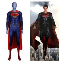 ingrosso costumi da supereroe del capretto di zentai-Anime Superman: Man of Steel 2 Clark Kent Costumi Cosplay Supereroe Superman Bambini Adulti Zentai Tute Mantello Tute Tute