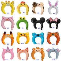 Wholesale inflatable balloon sticks resale online - Inflatable Headband Cute Animal Headband Balloon Hair Band Rabbit Ears Hairbands Balloon Head Bands Adorable Hair Sticks MMA2582