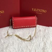 ingrosso nero bello-Borsetta di marca bella catena di rivetto borsa donna borse borsa Famoso designer borse Borse donna Portafogli moda in polvere nero e rosso