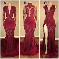 Wholesale embroidery white dress online - Prom Dresses Deep V Neck Mermaid Dark Red Split Party Dress Lace Appliques Crystal Beads Long Sleeves Plus Size Custom Evening Gowns