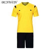 üniform boyun toptan satış-Benwon Futbol Hakem Formalar Kiti Adil Oynamak Profesyonel Rekabet Hakem Giyim V Yaka Futbol Yargıç Setleri Üniforma Kısa Spor