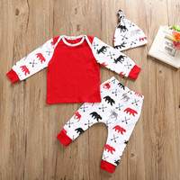 Discount canvas trench Christmas Infant Baby Clothes Set Newborn Toddler Reindeer Printed Pure Cotton Long Sleeve T-Shirt+Pants+Hat 3pcs Set Kids Casual Outfits