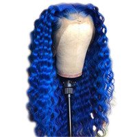 cabelo humano preto azul venda por atacado-Perucas completas para o cabelo humano das mulheres negras do laço para as mulheres negras Perucas completas para o cabelo humano das perucas do cabelo encaracolado ...